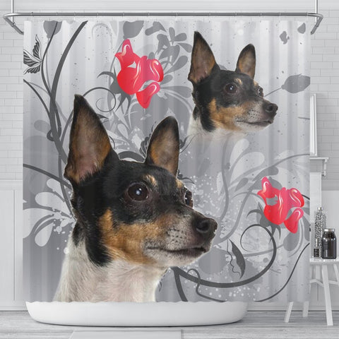 Cute Toy Fox Terrier Print Shower Curtain-Free Shipping