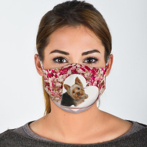 Yorkie In Heart Print Face Mask