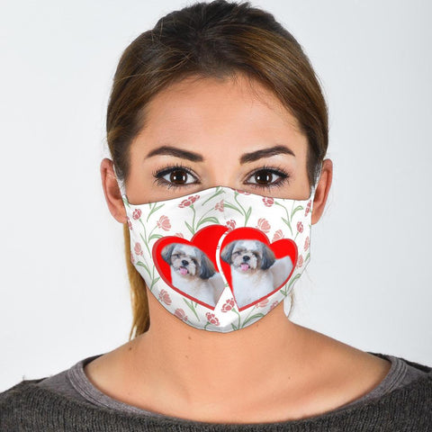 Shih Tzu In Heart Print Face Mask