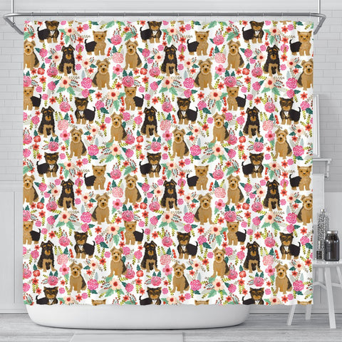Cute Yorkie Floral Print Shower Curtains-Free Shipping