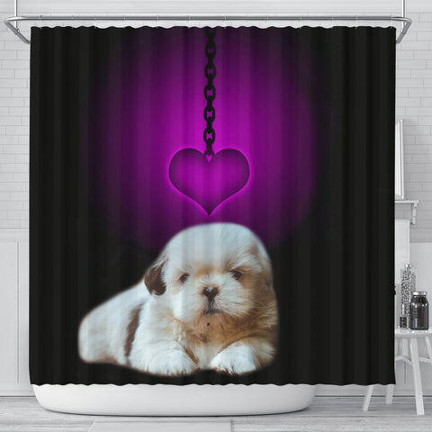 Shih Tzu Dog Print Shower Curtain-Free Shipping