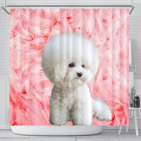 Bichon Frise On Pink Print Shower Curtains-Free Shipping