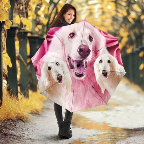 Afghan Hound On Pink Print Umbrellas