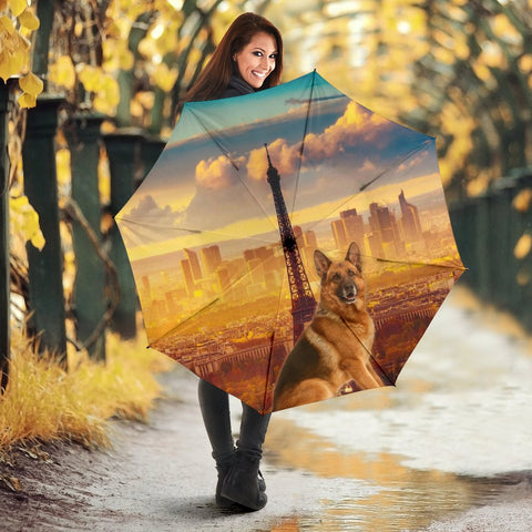 German Shepherd And Eiffel Tower Print Umbrellas