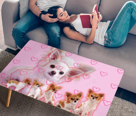 Chihuahua On Pink Print Rectangular Coffee Table