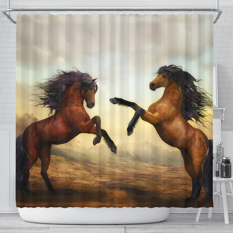 Wild Horse Art Print Shower Curtain-Free Shipping