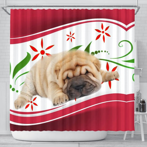 Shar Pei Dog Print Shower Curtain-Free Shipping