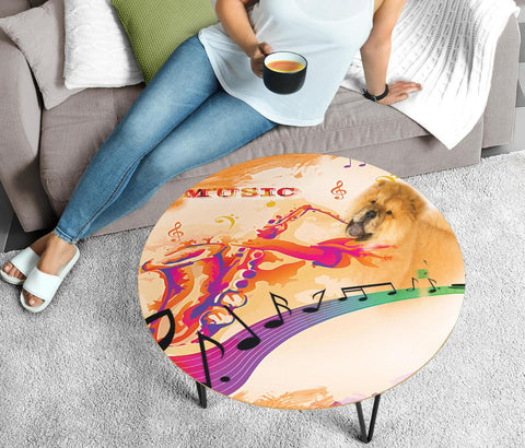 Chow Chow Print Circular Coffee Table