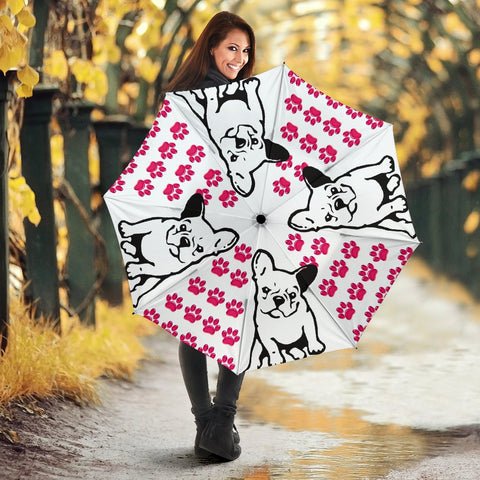 French Bulldog Pink Paws Print Umbrellas
