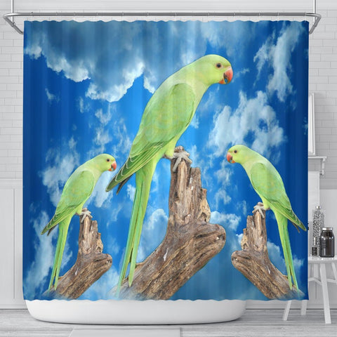 Rose Ringed Parakeet Print Shower Curtains-Free Shipping