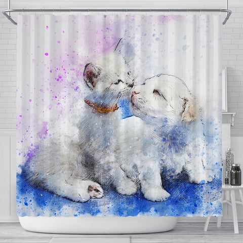 Cute Cat And Dog Love Watercolor Art Print Shower Curtains-Free Shipping