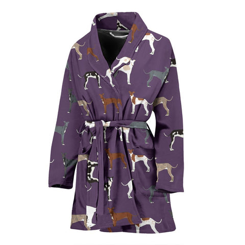 Italian Greyhound Dog Pattern Print Women's Bath Robe-Free Shipping