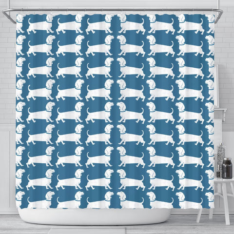 Dachshund Dog Art On SkyBlue Print Shower Curtains-Free Shipping