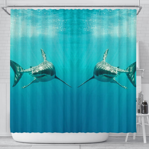 Shark Fish Print Shower Curtains-Free Shipping