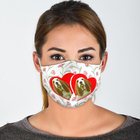 Basset Hound In Heart Print Face Mask