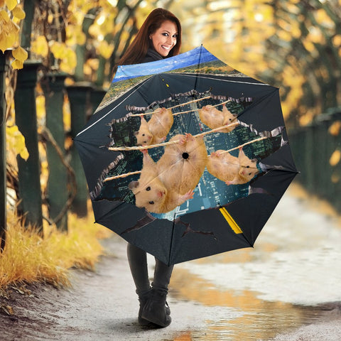 Golden Hamster Hanging Print Umbrellas