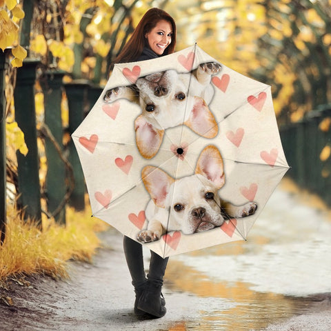 French Bulldog With Heart Print Umbrellas