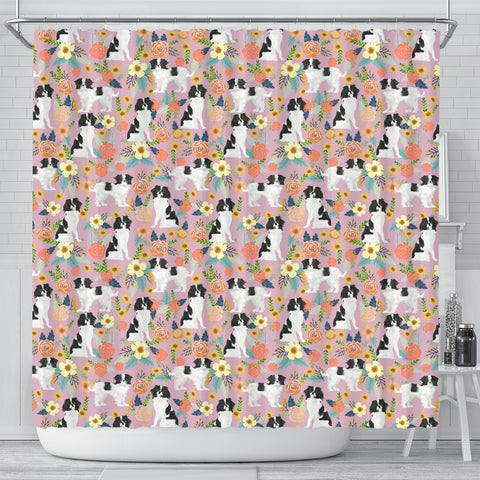 Japanese Chin Dog Floral Print Shower Curtains-Free Shipping