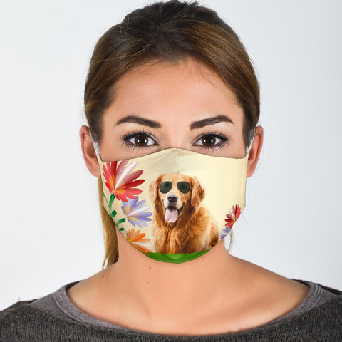 Cute Golden Retriever Print Face Mask