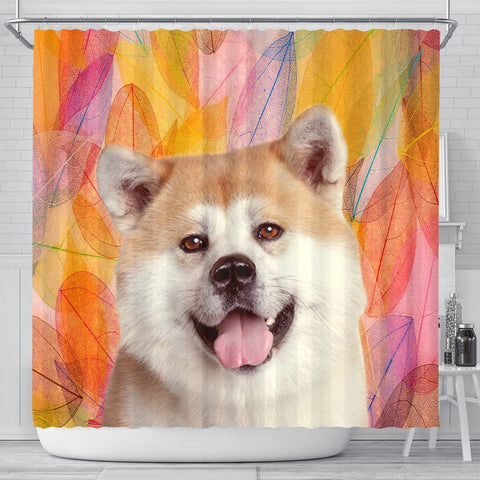 Cute Akita Inu Dog Print Shower Curtains-Free Shipping