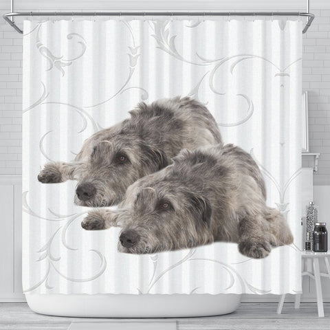 Irish Wolfhound Floral Print Shower Curtain-Free Shipping
