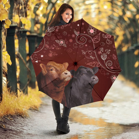 Limousin cattle (Cow) Print Umbrellas