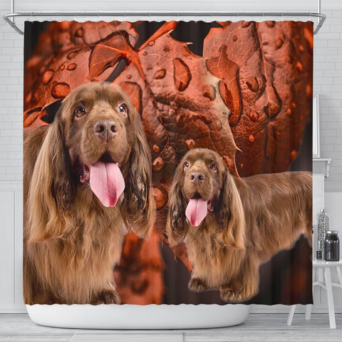 Sussex Spaniel On Brown Print Shower Curtains-Free Shipping
