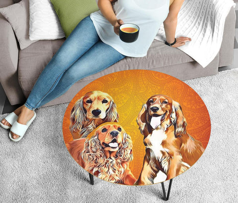 Cocker Spaniel Print Circular Coffee Table