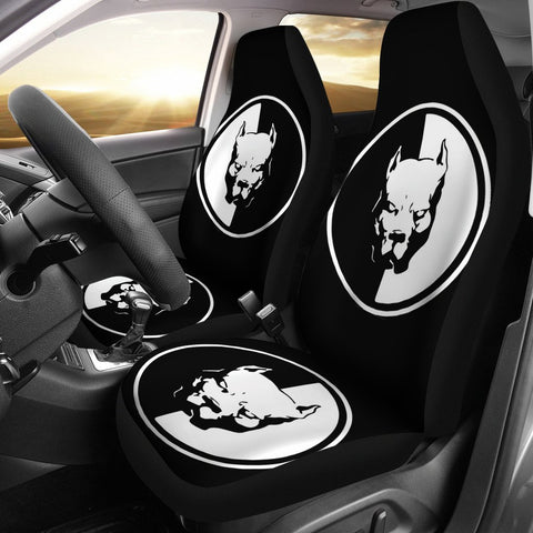 Pit Bull Dog On Black Print Car Seat Covers-Free Shipping