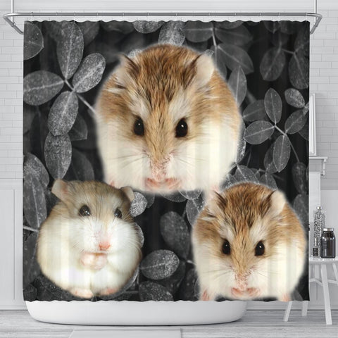 Roborovski Hamster On Black Print Shower Curtains-Free Shipping