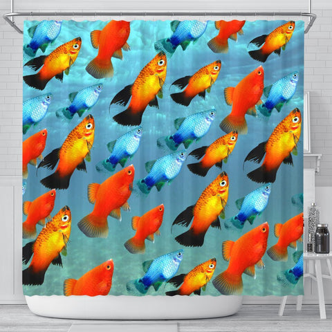 Platy Fish Print Shower Curtains-Free Shipping