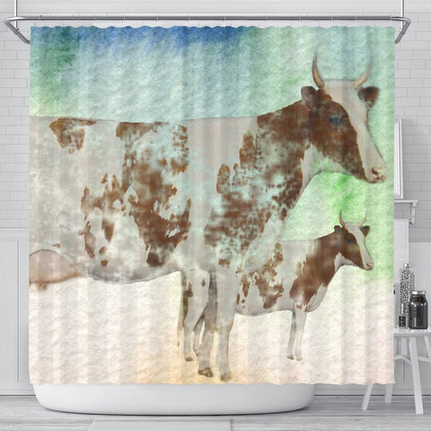 Ayrshire cattle (Cow) Print Shower Curtain-Free Shipping