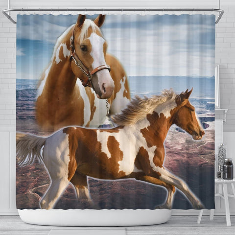 Amazing American Paint Horse Print Shower Curtains-Free Shipping
