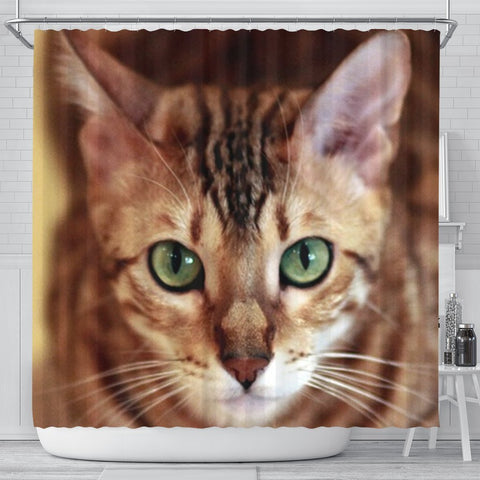 Lovely Bengal Cat Print Shower Curtains-Free Shipping