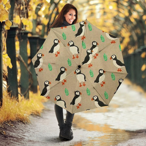 Puffins Bird Patterns Print Umbrellas