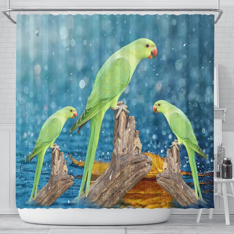Cute Rose Ringed Parakeet Print Shower Curtains-Free Shipping