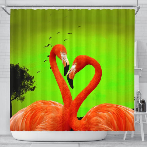 Flamingo Bird Heart Shape Print Shower Curtain-Free Shipping