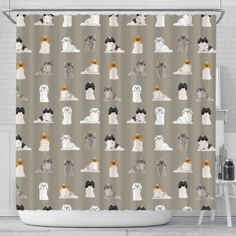 Pekingese Dog Pattern Print Shower Curtains-Free Shipping