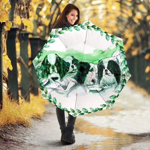 Japanese Chin Dog On Mount Rushmore Art Print Umbrellas