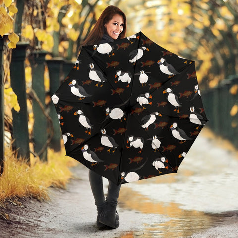 Puffins Bird Patterns Black Print Umbrellas