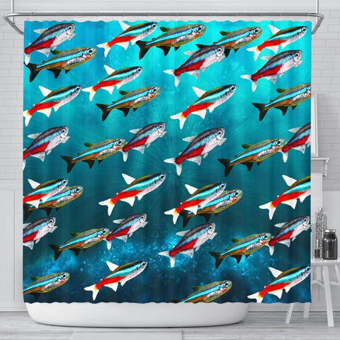 Neon Tetra Fish Print Shower Curtains-Free Shipping