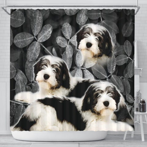 Cute Polish Lowland Sheepdog Print Shower Curtains-Free Shipping