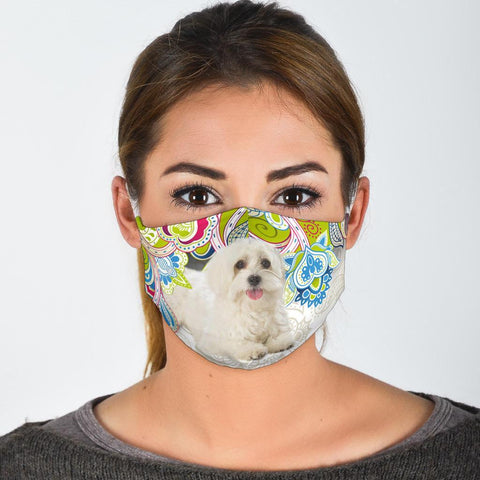 Cute Maltese Dog Print Face Mask