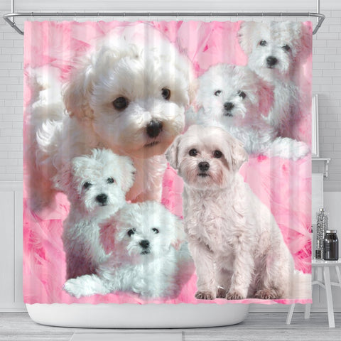 Bolognese Dog Print Shower Curtain-Free Shipping