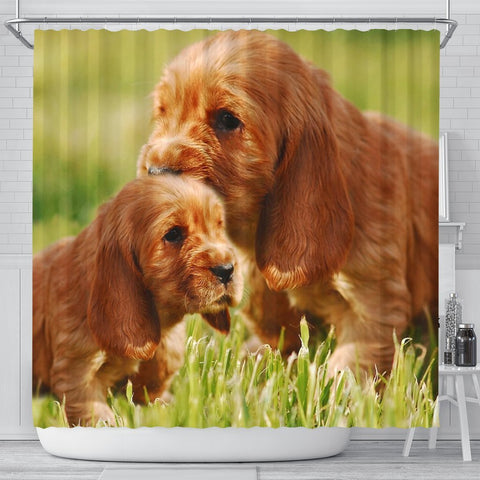 Cocker Spaniel Cute Puppy Print Shower Curtains-Free Shipping
