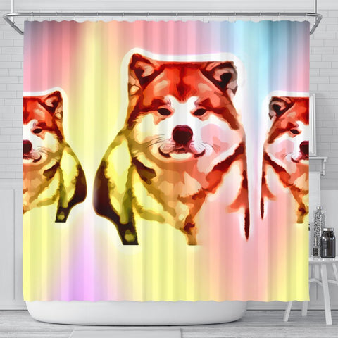 Colorful Akita Dog Print Shower Curtain-Free Shipping