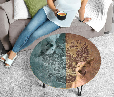 Chinook Dog Print Circular Coffee Table