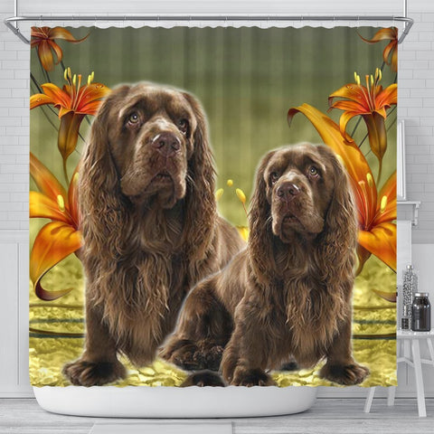 Sussex Spaniel Print Shower Curtains-Free Shipping