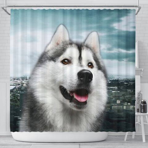 Cute Siberian Husky Print Shower Curtains-Free Shipping