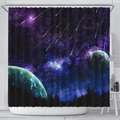 Outer Space Print Shower Curtains-Free Shipping